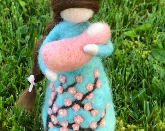 Mother and Baby Girl Waldorf Doll Needle Felted Doll set