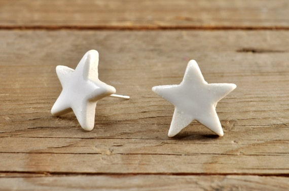 SMALL glossy white star stoneware stud earrings