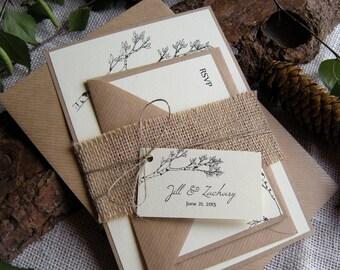 Rustic Wedding Invitation, Eco Wedding Invitation, Burlap Wedding Invitation, Tree Wedding Invitation,