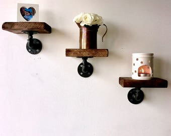 3 Industrial chic reclaimed wood shelves