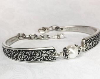 Demitasse Spoon Bracelet, Silverware Jewelry, White Pearls, 'Tangier' 1969