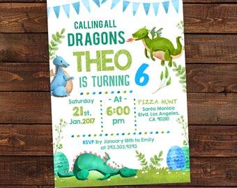 Dragon Birthday Invitation - Dragon Party Printable  Invitations - Birthday Boy Invites - Dragon Invitation Instant Download - #DPI6754DR