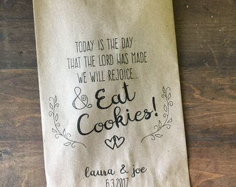 Wedding Favor Bags, Christian Wedding Cookie Bags, Candy Buffet Sacks, Custom Wedding Favors, Recycled Brown Paper Personalized Printed Sack