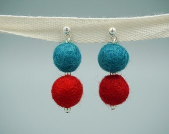 Pom Pom Earrings - Teal and Red