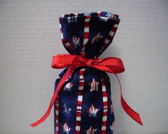 Patriotic Wine Bottle Gift Bag Stars Stripes 4th of July
