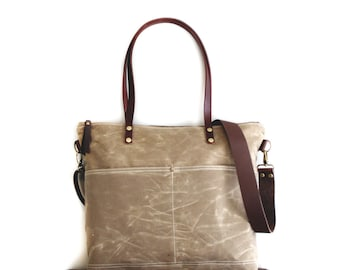 Waxed Canvas Tote in Field Tan with Exterior Pockets