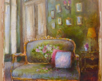 French Interior painting - House in the Province - French furniture The green room with Aubusson bergere - by Helen Flont