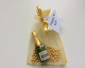 Personalised Celebration Gold Chocolate Champagne Favours - Wedding, Birthday, Hollywood