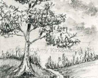 Landscape Pencil Drawing, Landscape ACEO, Original ACEO, Original Pencil Drawing, OOAK, Original Graphite Illustration, River