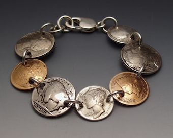 Coins Bracelet Sampler made from 7 Vintage American Coins