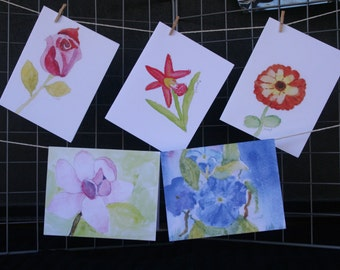 Flowers Watercolor Note Cards (age 9)