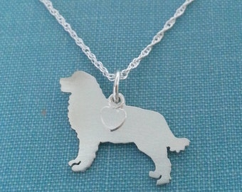 Bernese Mountain Dog Necklace, Sterling Silver Personalize Pendant, Breed Silhouette Charm Rescue Shelter