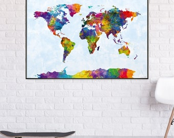 Watercolor World map Poster 91.5 x 61 cm