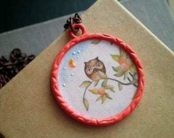 Vintage Owl Necklace - Retro Owl Stationary Hand Painted Moon & Stars Pendant - Wee Little Owl On A Branch Up-cycled Paper Boho Jewelry gift