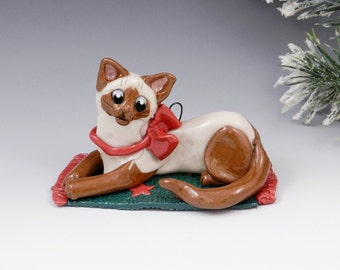 Siamese Cat Chocolate Point Christmas Ornament Figurine Porcelain Clearance