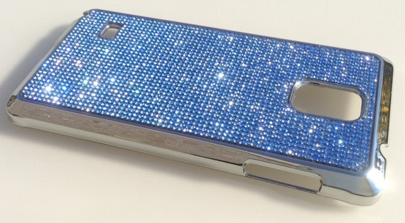 Galaxy Note4 Blue Sapphire Rhinestone Crystals on Silver Chrome Case. Velvet/Silk Pouch Bag Included, Genuine Rangsee Crystal Cases.