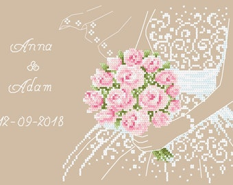 Wedding souvenir  Stitch Pattern, Digital  Pdf ,Graphics Counted Cross Stitch pattern in PDF  format, Painting,  Easy