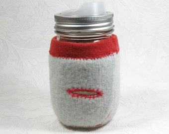 Jar Cozy - pint size - mint buttonhole