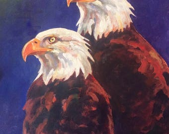 Acrylic of a Bald Eagle Pair