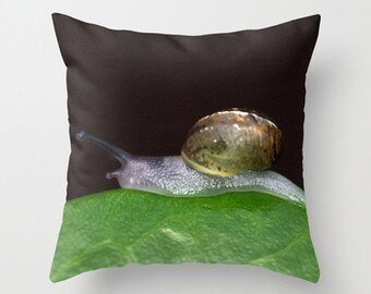 Snail pillow, snail cushion, green decor, green and black, throw pillow, scatter cushion, pillow cover, cushion cover, photography pillow