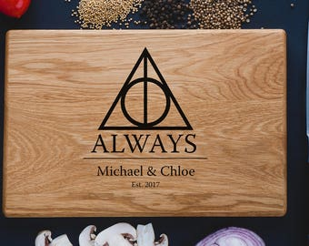 Harry Potter ALWAYS, Personalized Cutting Board, Family Sign, Established sign,Custom cutting boards - Wedding Gift harry07