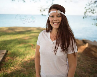 Flower Headband - Rhinestone Headband - White Flower Headband - White Headband - Flower Girl Headband - Bridal Headband - Flower Girl