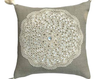 "Linen Throw Pillow Covers,  18"" x 18"" Crochet Doily Pillow with Mother Of Pearl Embroidery, Natural Beige Pillow with Jute Tassels - Doily"