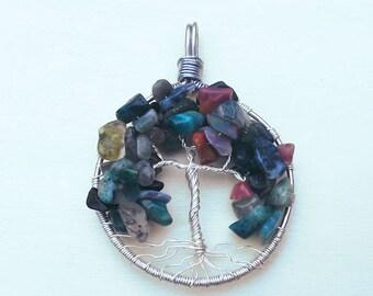 Fancy Jasper Tree of Life Pendant, Silver Wire Wrapped Tree Pendant, Jasper Tree Pendant, Jasper Jewelry