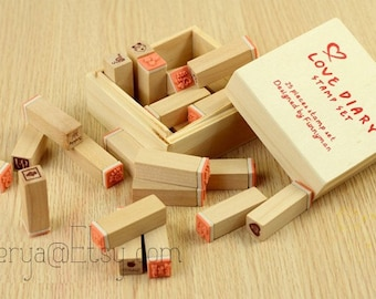 25 Pcs Love Diary Stamps - Wooden Rubber Stamp Set - Deco Stamps - Korean Stamps
