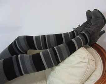 Wool Socks Black Over the Knee Sock Merino Wool Striped Thigh High Leg Warmers A1594