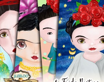 FRIDA KAHLO printable posters 8 x 10 hand drawing painting wall art - Digital collage sheet background papers - pp424