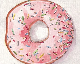 Pink Donut Watercolor Painting Print, Doughnut with Pink Frosting and Sprinkles from Above, 8x10 Print