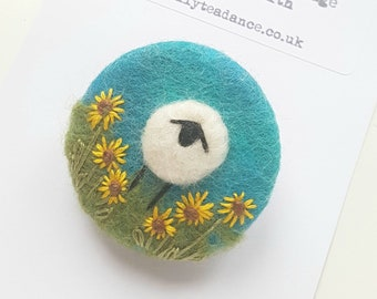 Hand felted and embroidered Sheep brooch with sunflowers  - deep turquoise handcrafted felted wool brooch