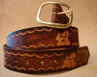 "Brown Leather Belt - Tooled Leather Belt - Custom Leather Belt - Personalized Leather Belt - 1-1/2"" Belt with Horse or Pony"