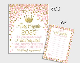 Princess Birthday Party Time Capsule Sign And Message Cards First Birthday Decorations Pink And Gold Confetti 1st Birthday Time Capsule