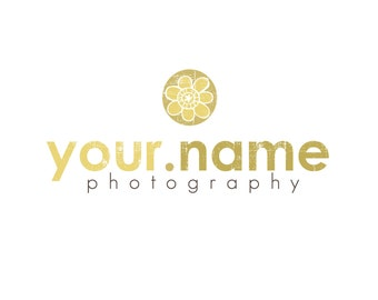 Photography Logo & Watermark - Pre-made for Photographer - Distressed Flower Circle