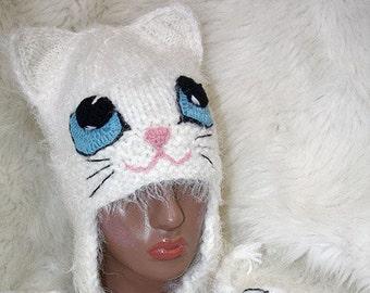 Crochet cat Hat Kitty Cat Hat, crochet cat hat, knit cat hat, crochet cat beanie, crochet kitty hat, animal hat, cat beanie, pink hat