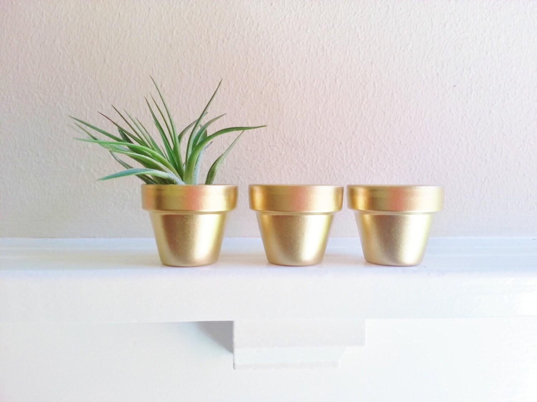 Gold Mini planters, 2 inch succulent pots, Wedding favors, mini ...