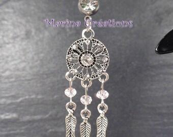 "Stainless steel 316L Belly button piercing Dreamcatcher, light pink swarovski crystal bar length 10mm 0.39"""