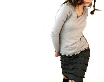 LONG SLEEVE women shirt| grey top| women top| best selling| grey shirt| handmade| custom| ruffled top| treehouse28