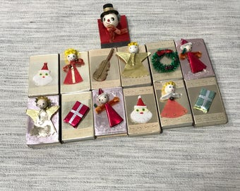 12 Vintage Match Boxes with Spun Head and other Decorations