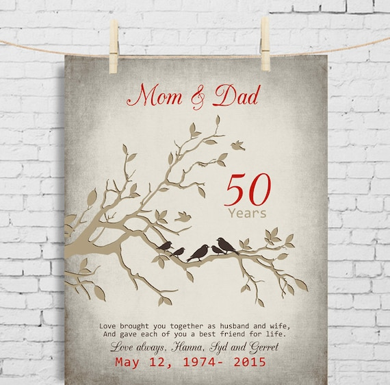 50th wedding anniversary gift anniversary gift for parents 50th wedding anniversary gift anniversary gift for parents parents inlaw golden anniversary print anniversary gift for parents from kids stopboris Gallery