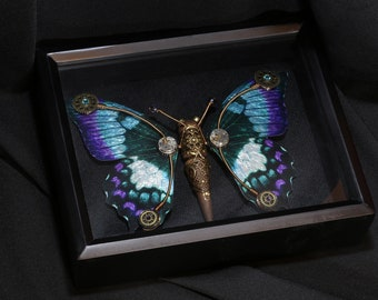 Steampunk butterfly sculpture - Purple and turquoise wings - 9 x 11 Shadowbox