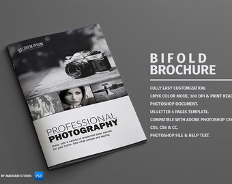 Photography Bifold Brochure - Photoshop Template - INSTANT DOWNLOAD