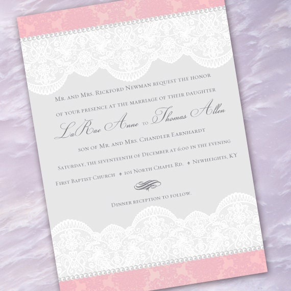 wedding invitations, pink and lace wedding invitation, Victorian wedding invitations, lace wedding invitations, pink and white bride, IN215