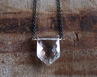 Clear Quartz Necklace, April Birthstone, Geometric Pendant, Rock Quartz Necklace, Mixed Metal Jewelry, Pentagon Pendant, Gift for Her