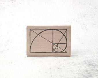 The Golden Ratio Rubber Stamp - Fibonacci Math Stamp - Geometric and Mathematics Stamp