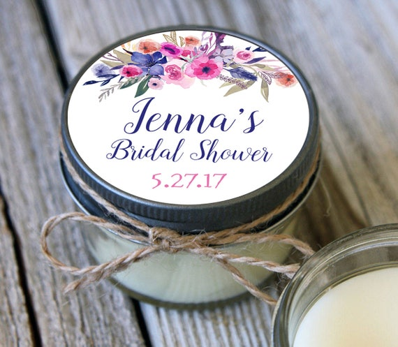 12 - 4 oz Soy Candle Bridal Shower Favors - Rose Label - Floral Bridal Shower Favors - Rustic Bridal Shower Favor - Mason Jar Favor