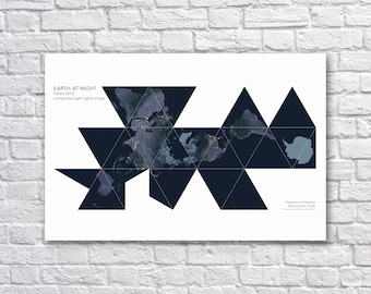 NASA Earth at Night Poster - Earth From Space - Buckminster Fuller Dymaxion Map - World Map Poster