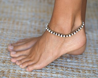 Pearl Anklet // Shell Anklet // Beach Jewelry // Beach Anklet // Tobillera // Beach Ankle Bracelet // Ankle Bracelet for Women // Bracciali
